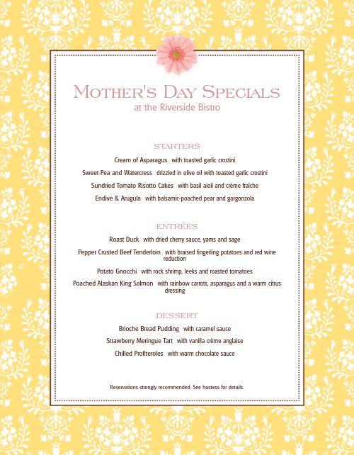 Mothers Day May Menu