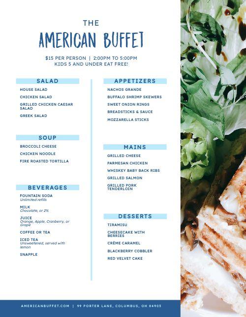 American Buffet Menu