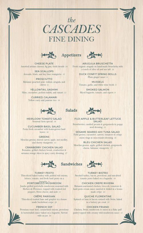 Fine Dining Rustic Menu