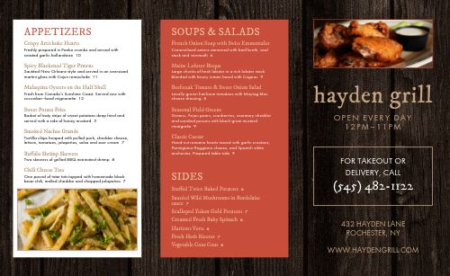 Steakhouse Eatery Takeout Menu