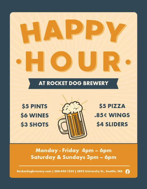 Fun Happy Hour Flyer