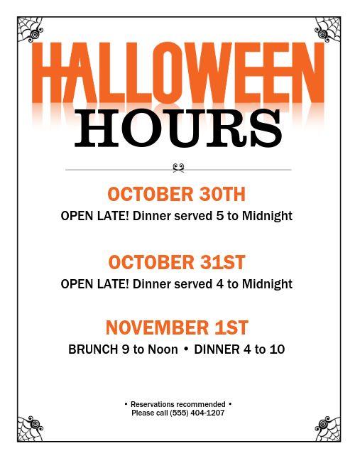 Halloween Hours Flyer