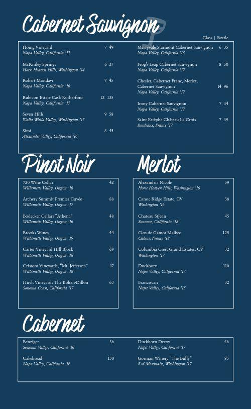 Blue Wine List Menu