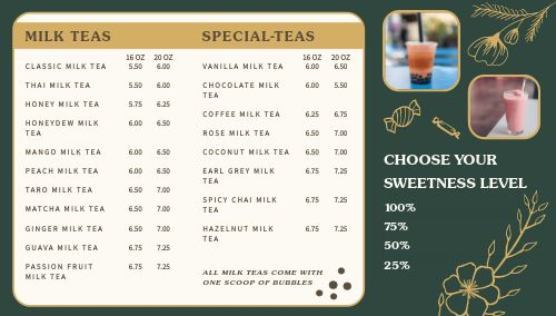 Boba Tea Digital Menu
