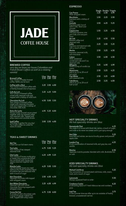 Jade Coffee Menu