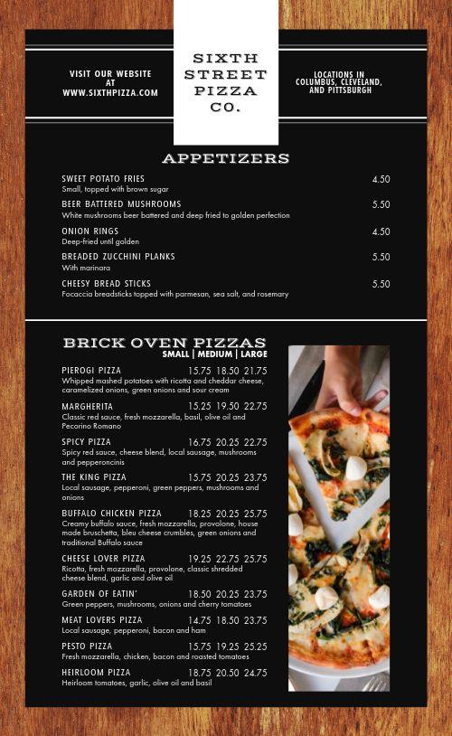 Modern Pizzeria Menu