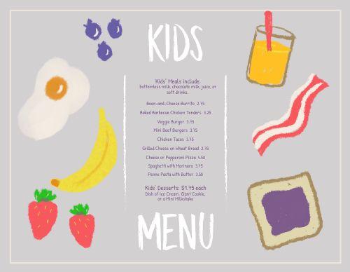 Colorful Breakfast Kids Menu