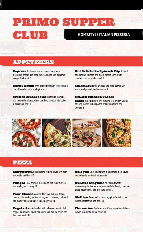 Homestyle Italian Pizzeria Menu