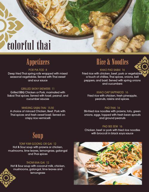 Colorful Thai Menu