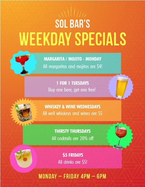 Weekday Bar Specials Flyer