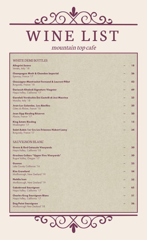 Wine List Menu