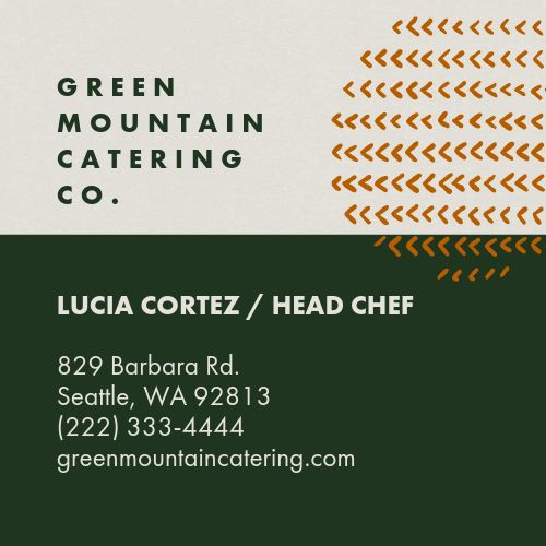 Catering Mountain Business Card