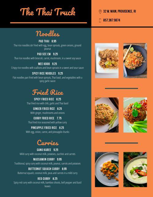 Thai Food Cart Menu