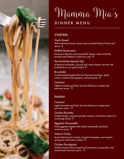 Italian Dinner Entrees Menu