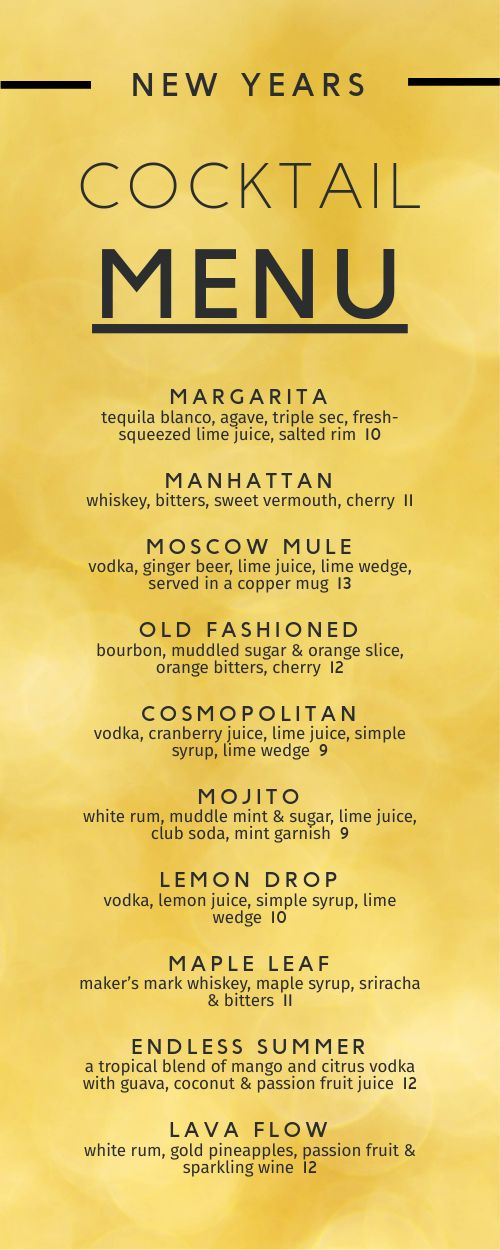 New Years Cocktail Half Page Menu