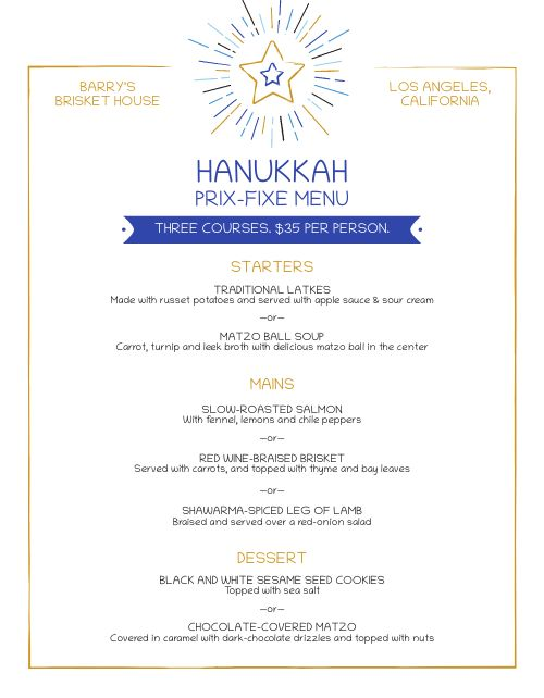 Hanukkah Prix Fixe Menu