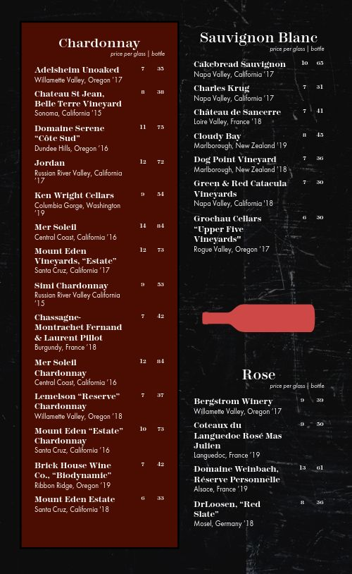 City Winery Menu