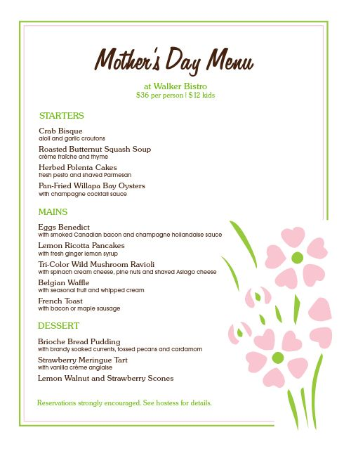 Mothers Day Restaurant Menu