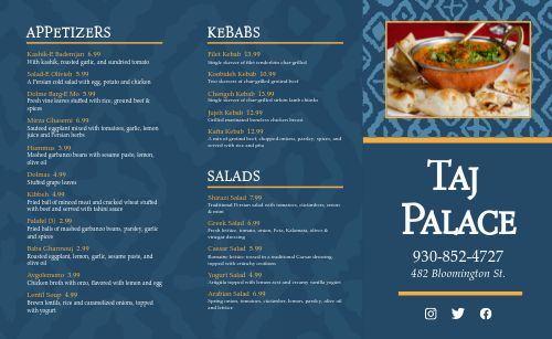 Middle Eastern Dinner Takeout Menu