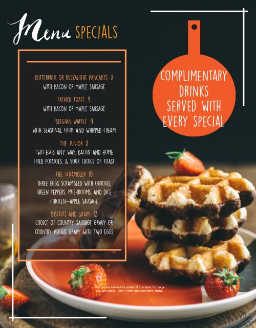 Breakfast Waffle Special Menu