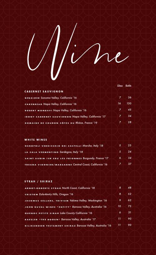 Simple Wine Menu