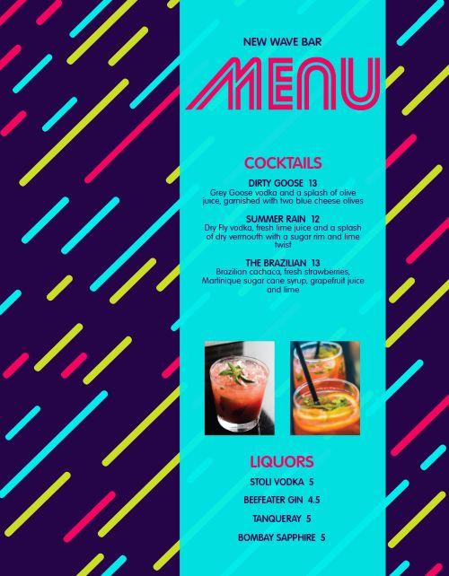 Colorful Bar Menu