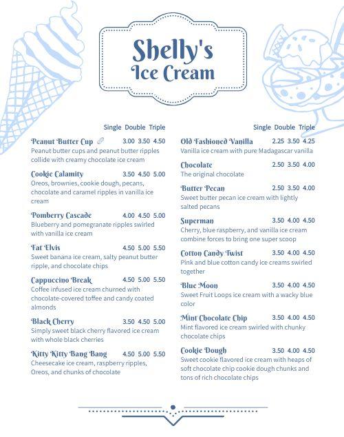 Ice Cream Parlor Menu Poster