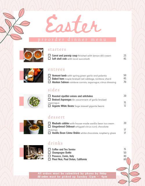 Easter Preorder Menu