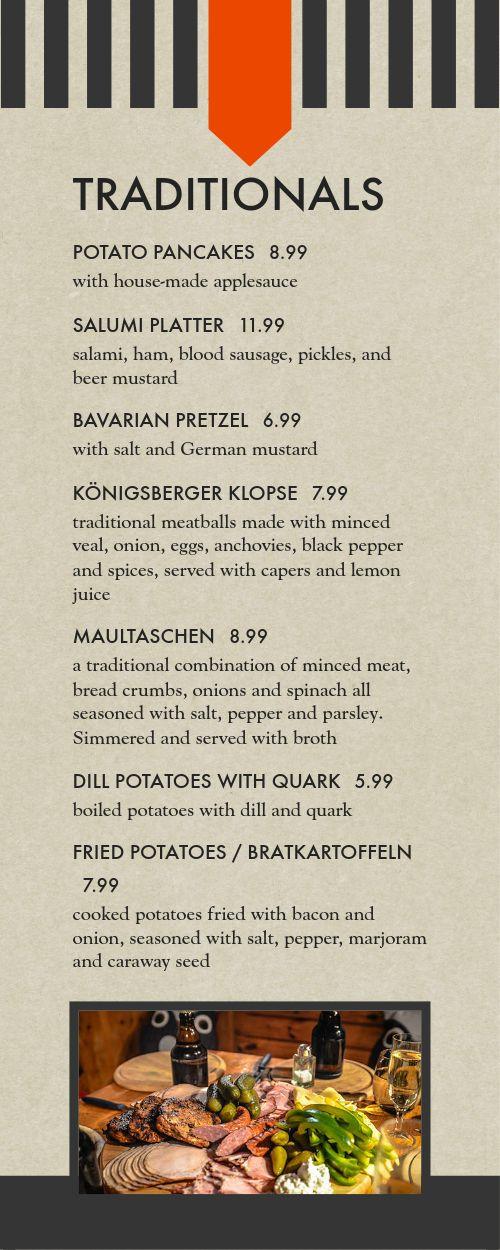German Eatery Half Page Menu