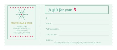 Bar Holiday Gift Certificate