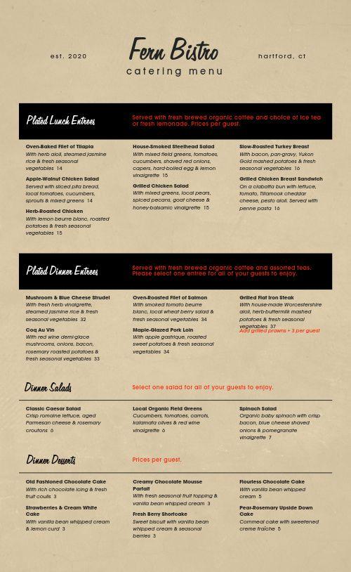 Cork Catering Menu