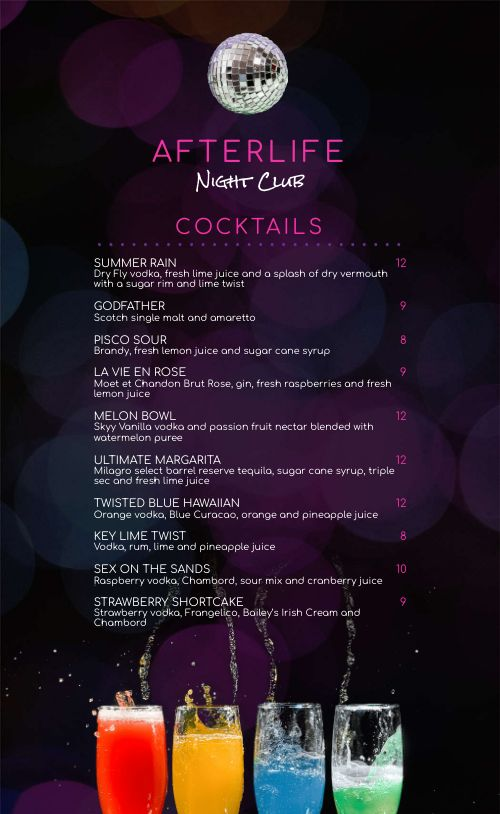Night Club Drink Menu