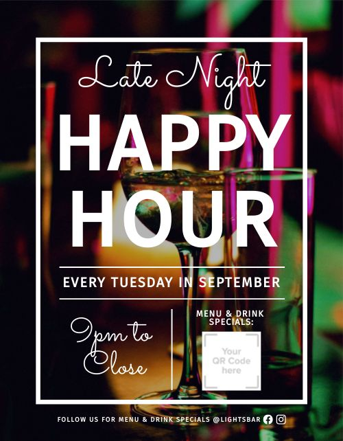 Happy Hour Promotional Flyer