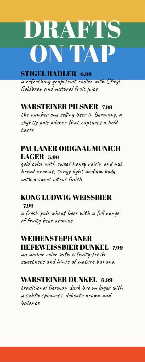 German Beer Half Sheet Menu