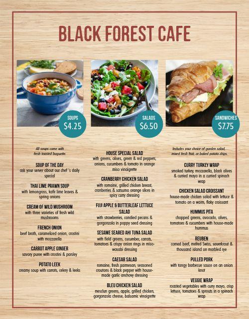 Garden Grove Cafe Menu