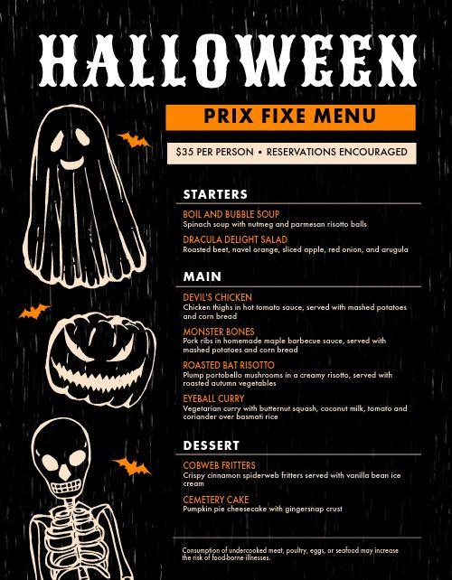 Example Halloween Menu