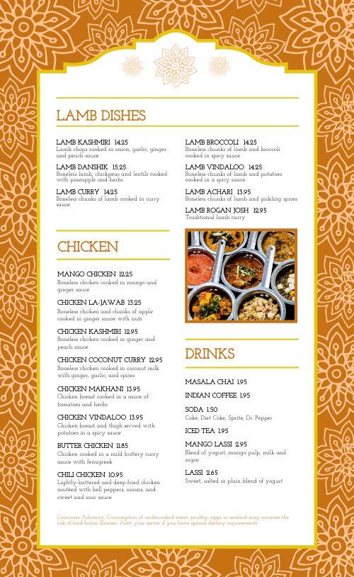 Floral Indian Cuisine Menu