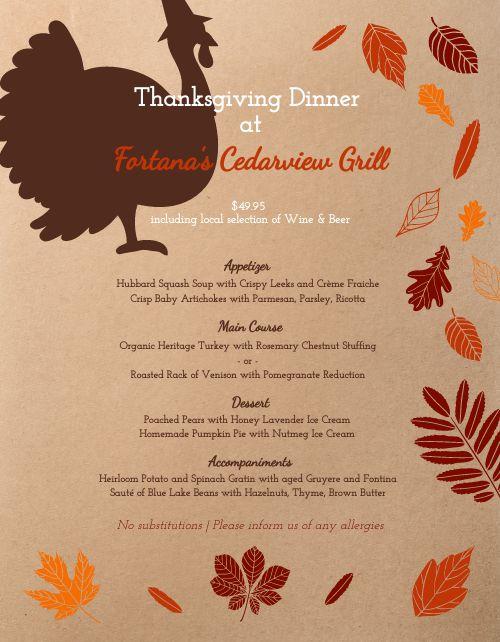 Thanksgiving Turkey Menu