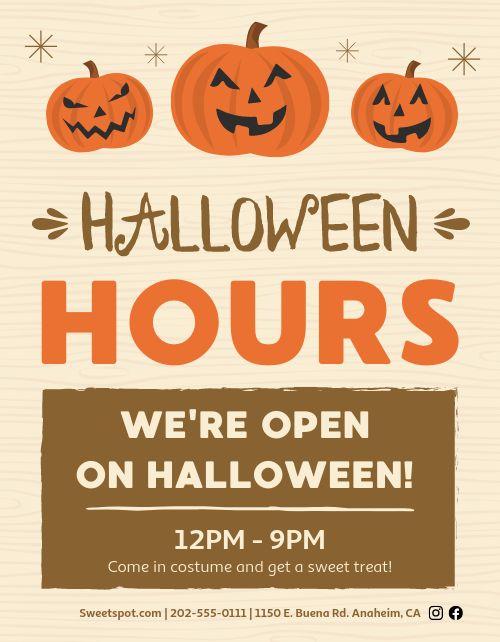 Halloween Hours Sign