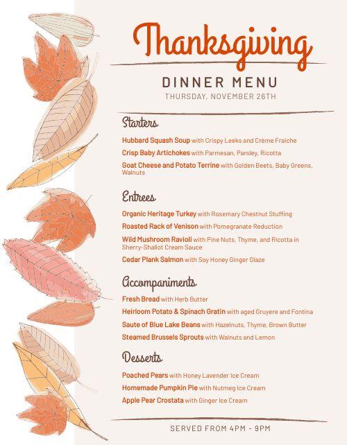 Fall Thanksgiving Menu