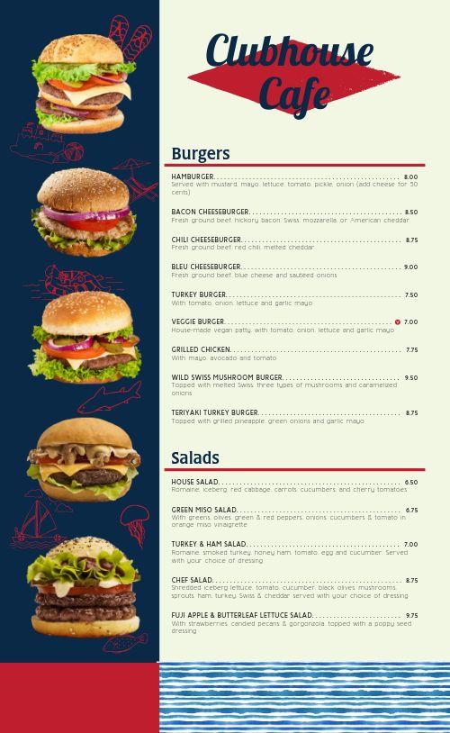 Burger Cafe Menu