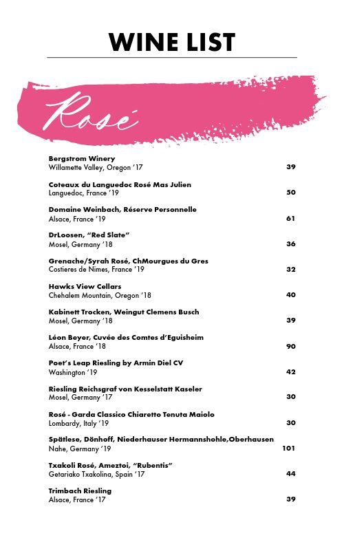 Rose Wine List Menu