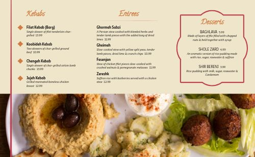 Middle Eastern Cafe Takeout Menu