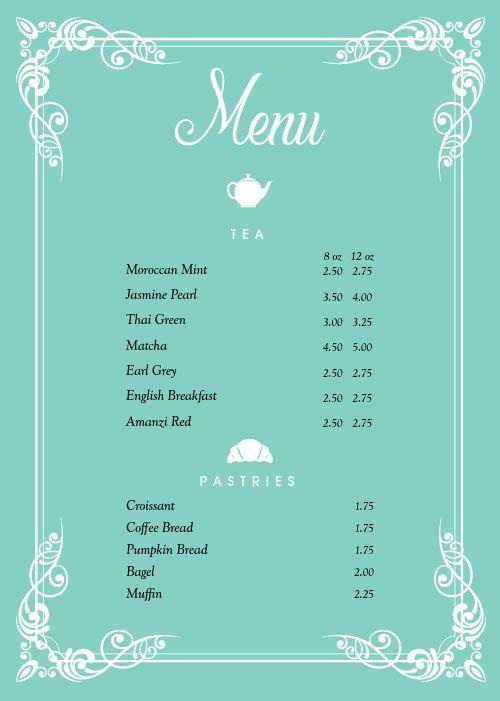 Cafe Tea A4 Menu