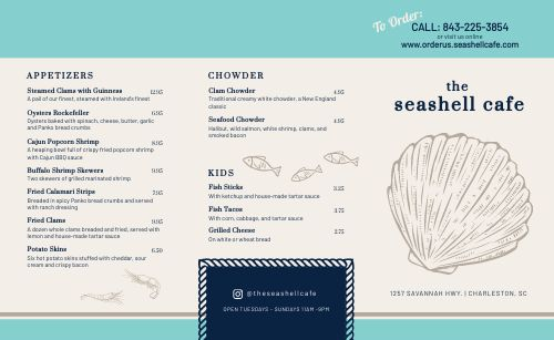 Cafe Seafood Takeout Menu