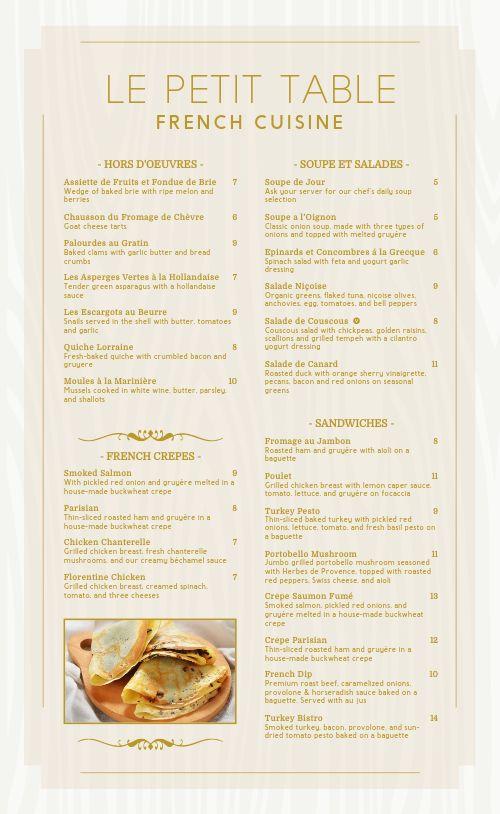 French Fine Dining Menu