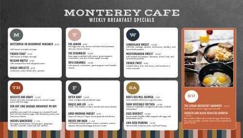 Modern Cafe Daily Specials Digital Menu Board