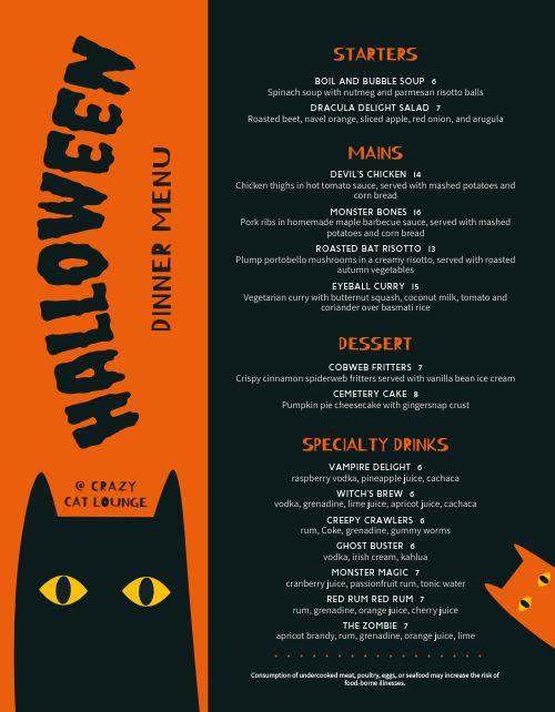 Sample Halloween Menu