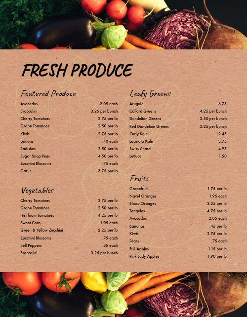 Farmers Market Produce Menu