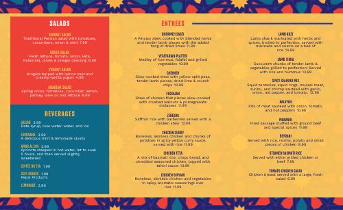 Abstract Middle Eastern Takeout Menu